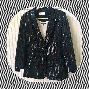 Cache tuxedo style sequined jacket